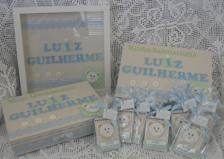 Quadro para porta + Caixa para Documentos do bebê + Caixa Farmacinha + Bloquinhos para lembrancinhas.Orçamentos pelo e-mail jannainamelo@ig.com.br