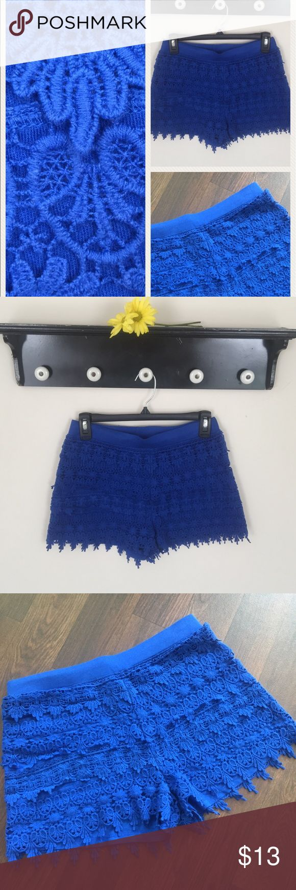 High Waist Cobalt Blue Crochet Shorts Size XS High Waist Cobalt Blue Crochet Shorts Size XS- Beautiful and vibrant blue crochet shorts from Express- Waist 13 1/2 inches but stretchy, Length 12 inches, Inseam 2 1/2 inches- 60% Cotton, 40% Modal- Thanks for looking and please check out the rest of my closet! 🐞 Express Shorts