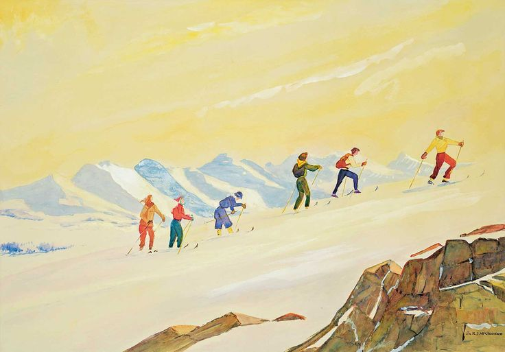 "Untitled (Skiing Party on Top of the Glacier), Father Robert James McGuinness, watercolor on paper, 19.5 x 27.5"", private collection."