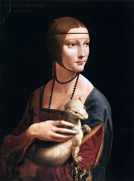 The Lady with an Ermine (Cecilia Gallerani), 1496 by Leonardo da Vinci. High Renaissance. portrait. Czartoryski Museum, Cracow, Poland