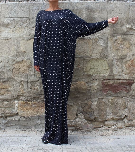 Black and White polka dots caftan, Maxi dress, Plus size dress, kaftan, Abaya, Oversized dress, Woman dress, Casual dress, Long Dress