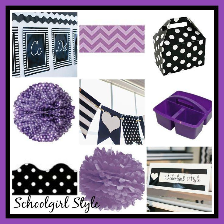 purple classroom decor theme by Schoolgirl Style I HEART School Inspiration Boards Purple black and white classroom theme and decor by Schoolgirl Style www.schoolgirlstyle.com