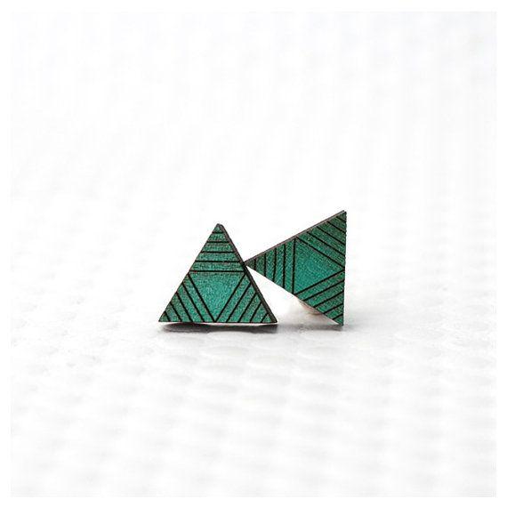 Triangle Stud Earrings / Modern, Geometric Color Block / Assorted Colors - Nickel-Free