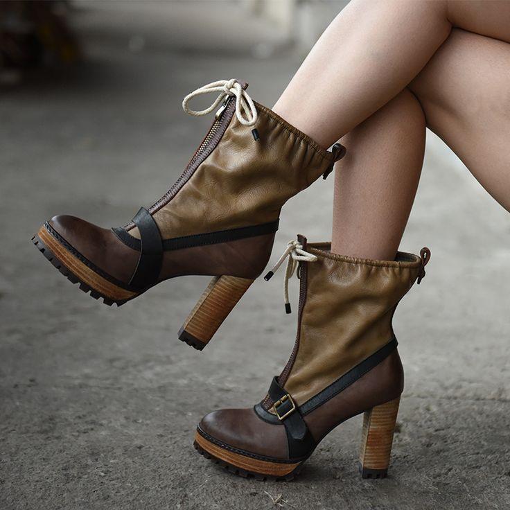 Полусапоги на высоком каблуке. Artmu   Оригинальные женские кожаные сапоги на высоком каблуке в британском стиле. Передняя молния, ремень с металлической пряжкой, сверху утягивающий шнурок. Натуральная кожа. Бренд: Artmu. ☮️Цена: 6800 руб.  На заказ. Доставка, самовывоз. Больше фотографий смотрите на сайте: bohomagic.ru. http://bohomagic.ru/shop/for-her/artmu-sapogi-na-vysokom-kabluke/ #бохокупить #бохомагазин #бохошик #бохоодежда #одеждабохо #бохостиль #бохостайл #стильбохо #бохообраз…