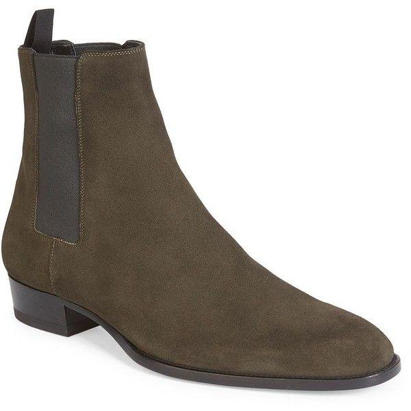 Saint Laurent Wyatt Chelsea Boots ($945) ❤ liked on Polyvore featuring men's fashion, men's shoes, men's boots, mens slip on boots, mens beatle boots, mens slip on shoes, mens shoes and mens slipon shoes