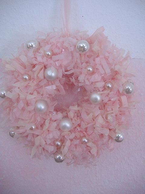 Pink Christmas wreath with different size beads that add interest, sparkle and have a light like effect -so pretty