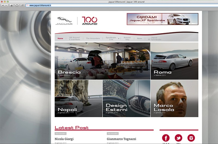 Ritrovarsi nella home page di #Jaguar100Around EMOZIONANTE!