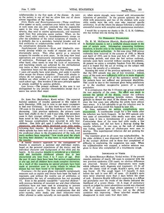 Description of the NON severity of Measles in the Medical Literature