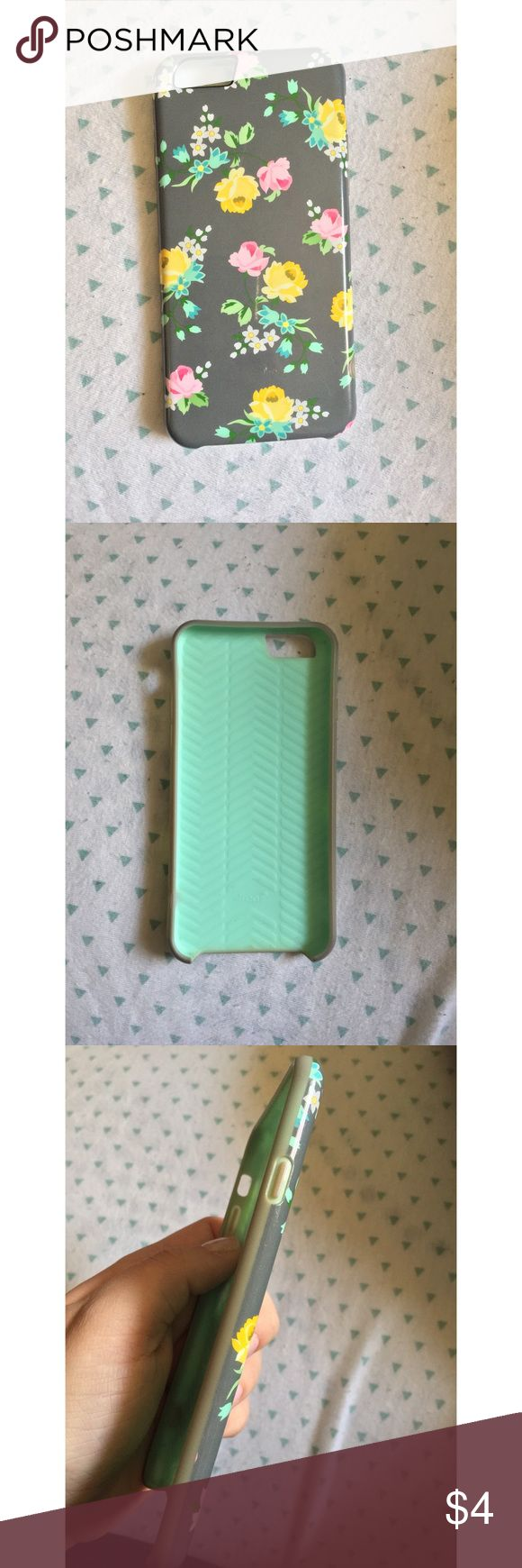 Mint & Gray Floral iPhone 6 Case Bought this iPhone 6 case about 2 years ago. It's been used a lot and has scratches on the back of it but they're not very visible unless you look close. The sides are also a bit dirty because it's been used so much but overall the case is in good condition, it has no cracks or breaks. This is a flexible phone case that ONLY FITS THE IPHONE 6. It's not compatible with the iPhone 6s/iPhone 6 plus, etc. Accessories Phone Cases