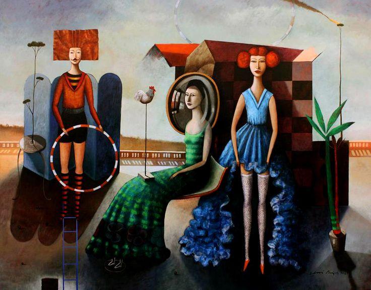 La dama del espejo. óleo sobre lino. 130 X 150 Cms