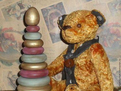 Мишка-тедди Янтарный 24 см. - жёлтый,Плюшевый мишка,плюш антикварный,подарок на день рождения