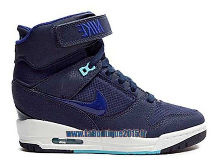 Nike Wmns Air Revolution Sky Hi GS Chaussure Montante Nike Pas Cher Pour Femme Marine Midnight Bleu Blanc 599410-403