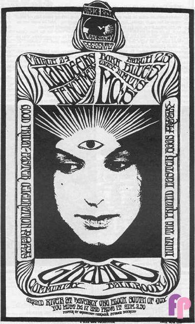 3/24/1967 ... Grande Ballroom .... . Landeers...... Henchmen ....Born Blues .... City Limits .... MC5 ... artist ..... GARY GRIMSHAW