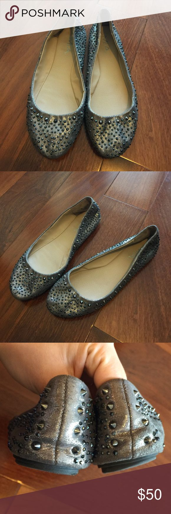 MIA 'Barracuda' Spiky Studded Ballet Flats Pre-owned; in good condition. 'Barracuda' studded spiky ballet flats by MIA. Silver/grey. Textile upper, textile outsole. Size 9. MIA Shoes Flats & Loafers