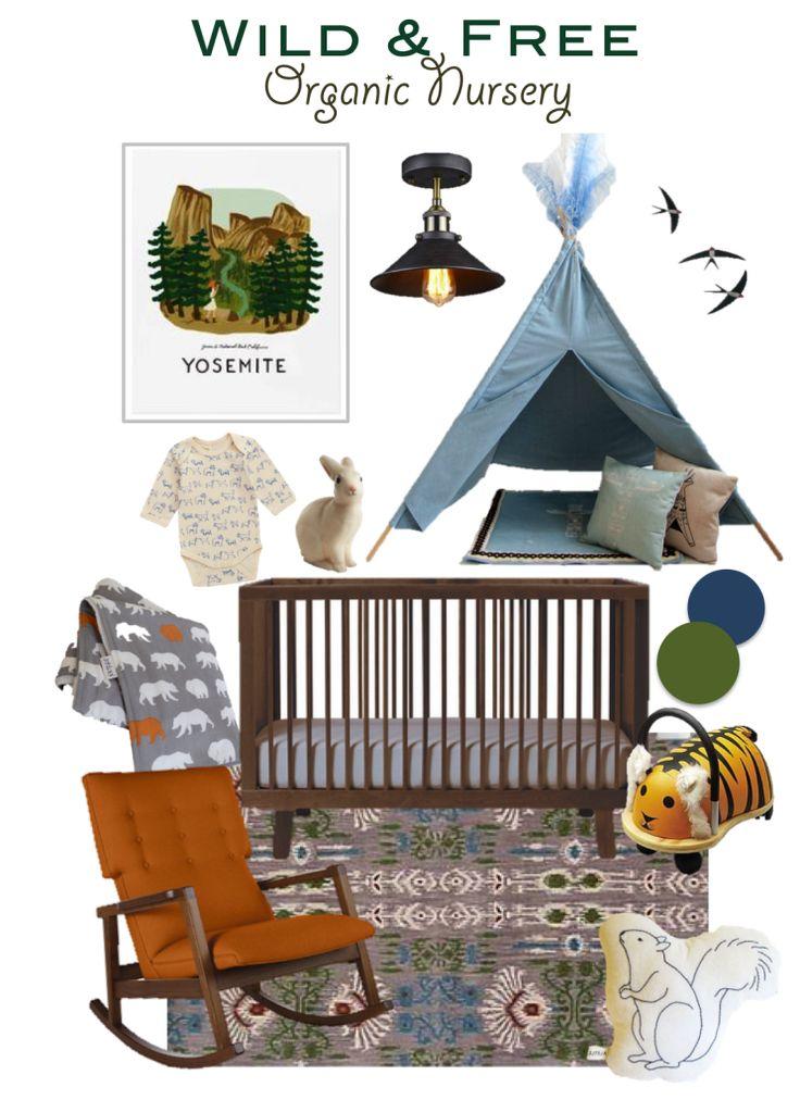 WildAndFreeOrganicNursery 100% organic - eco friendly - green - boy nursery - nursery design inspiration board - oudoors themed - camping - national park - natural