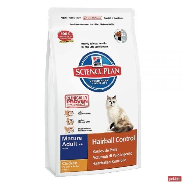 Hill's Mature Adult +7 Hairball Control Chicken Tavuklu Yaşlı Kedi Maması 1,5 Kg