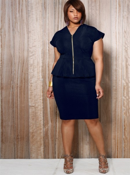 Fiona Front Zip Peplum Dress - Navy $178.00