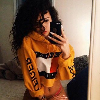 urban cropped hoodie sweater tommy hilfiger crop top