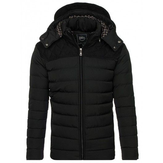Černá pánská bunda na zimu s kapsy na zip - manozo.cz