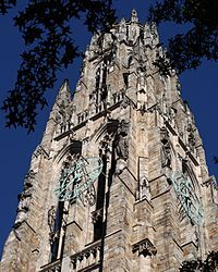 New York metropolitan area - Wikipedia, the free encyclopedia The bronze clock on Harkness Tower at Yale University, a structure reflecting the Collegiate Gothic architectural genre.