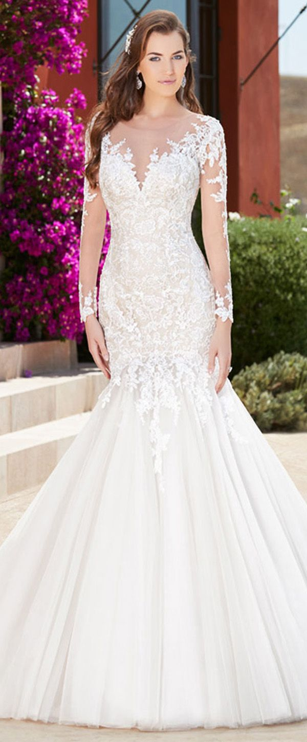 Fantastic Tulle Scoop Neckline Natural Waistline Mermaid Wedding Dress With Lace Appliques & Beadings