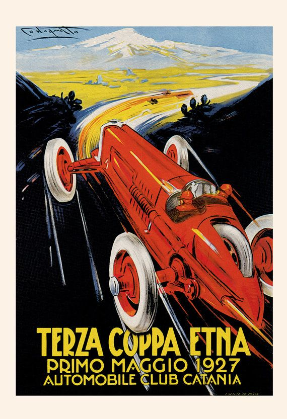 1927 ANTIQUE CAR POSTER Terza Coppa Etna by EncorePrintSociety
