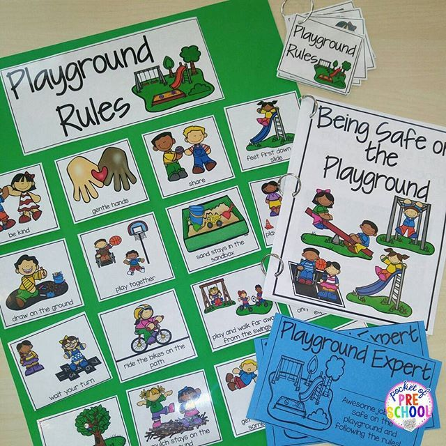 Playground Rules poster, read aloud, cards, and student certificates for back to school are ready to go. Using visuals to teach routines helps our preschool, pre-k, and kindergarten students a ton!
