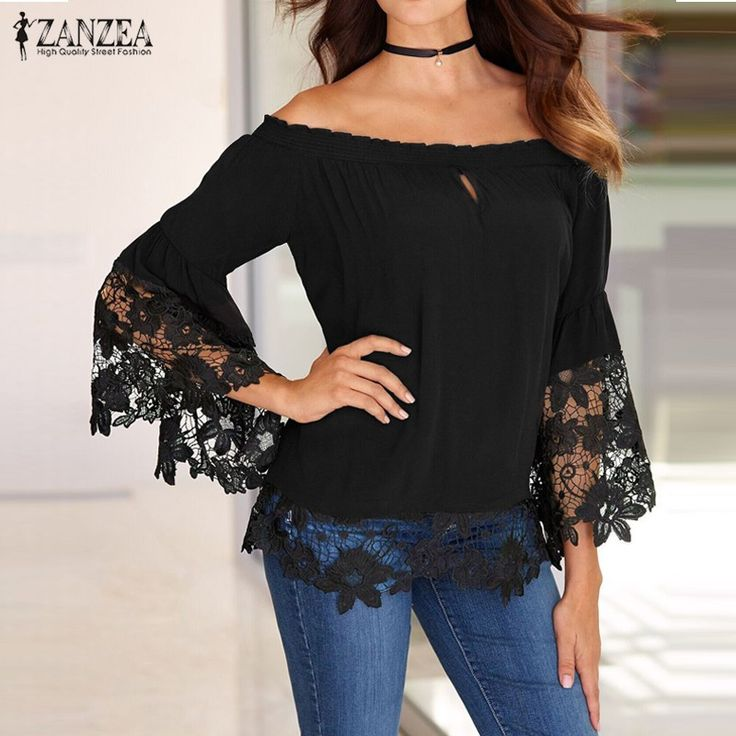 Cheap shirts creative, Buy Quality blouse neck directly from China blouse top Suppliers: Off Shoulder Shirts Women Blouses 2017 Sexy Slash Neck Flare Sleeve Patchwork Lace Crochet Blusas Casual Tops Plus Size S-5XL