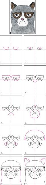 How to Draw Grumpy Cat - ART PROJECTS FOR KIDS