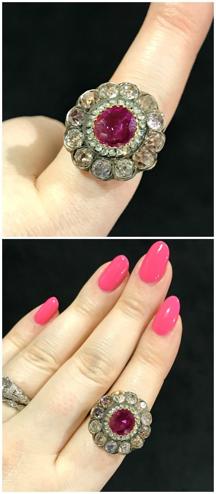 An incredible ruby ring with pink diamonds, from the Georgian Era. Spotted at Jogani, at the Original Miami Antique Show.