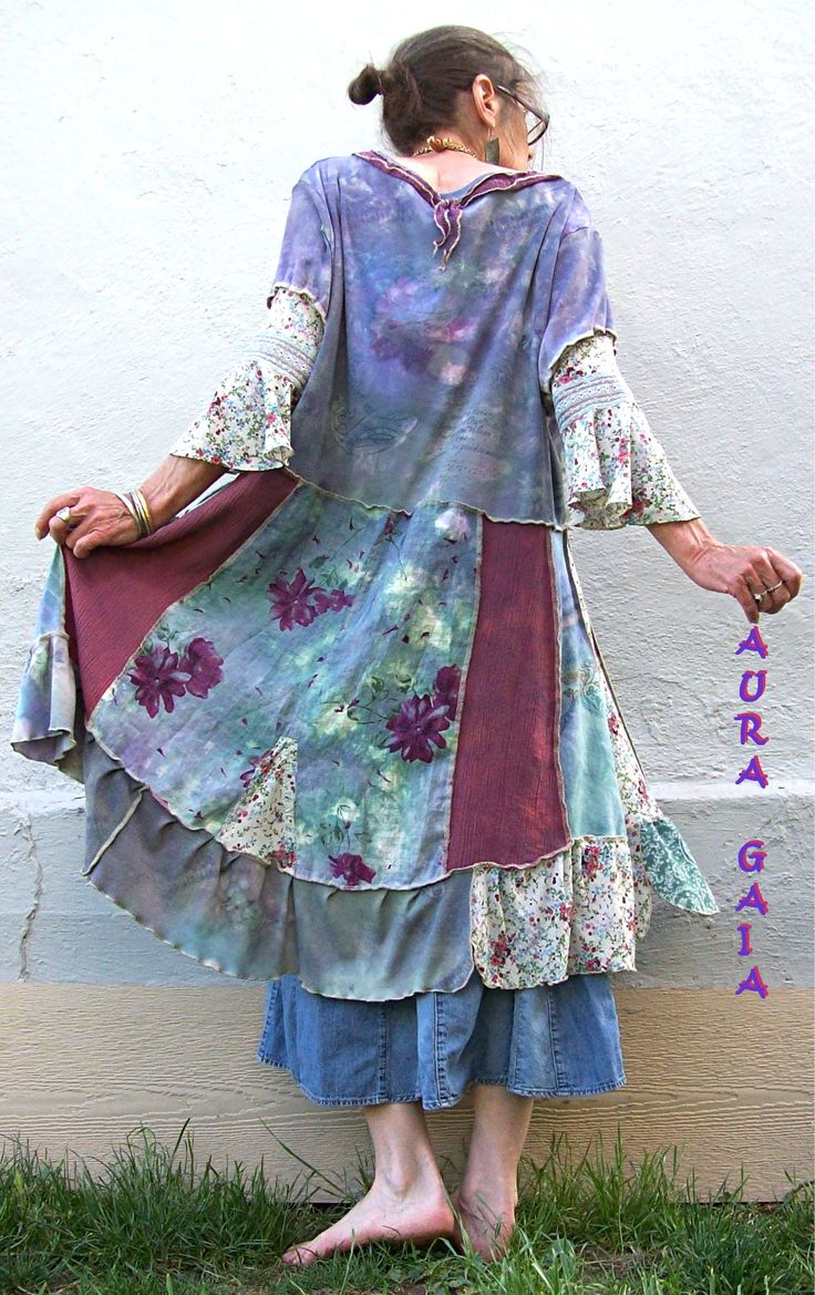 AuraGaia Misty Dream ~ Poorgirl's Patchy OverDyed Upcycled Tunic Dress XL-3X