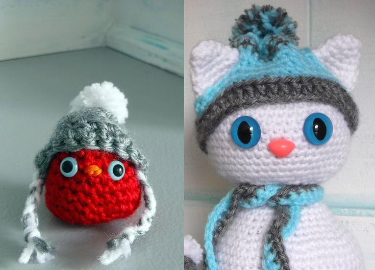 Free Crochet Amigurumi Winter Snow Cat and Red Bird Buddy Pattern. Free PDF crochet pattern download.