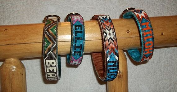 Handmade beaded dog collar by Deesbeadeddogcollars on Etsy