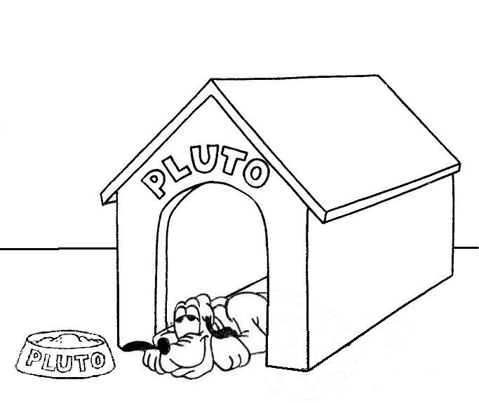 A Printable Disney Coloring Page 019 Featuring Pluto In His Dog House