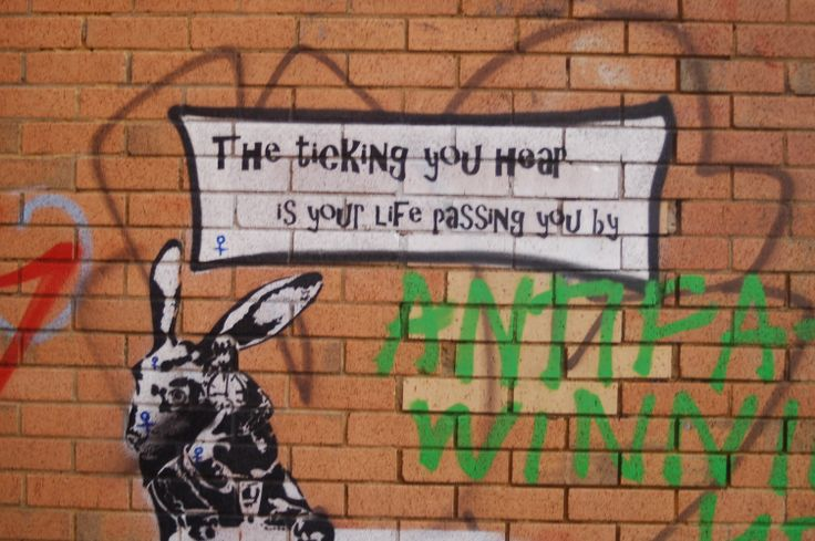 """Photo taken be hide a shop on the back brick was made by spray cans and stencils + the rabbit from Alice in wonder land as the rabbit has the watch saying that he is late and with that tag line """"The ticking you hear is you life passing by"""" saying that don't waste time and just live it."""