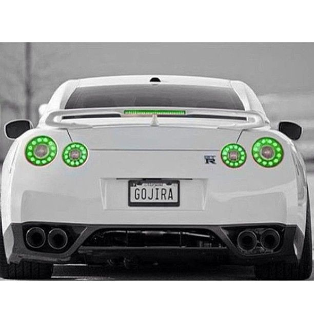 Gorgeous White Nissan GT-R with awesome green lights