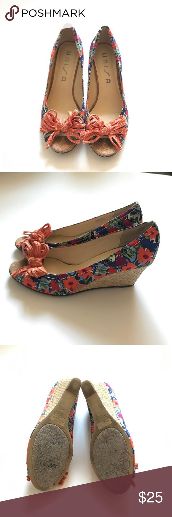"""Floral Wedges Unisa floral wedges! These are perfect for the spring! They are basically new. Wedge height is about 2"""". Unisa Shoes Wedges"""