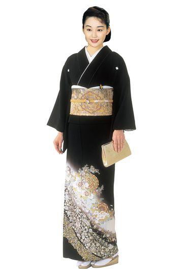 "Kimono : ""Tomesode"" for married women 華文バラ錦箔/黒留袖"