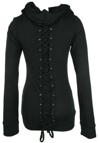 Black Lace-Up Back Long Sleeves Stylish Hoodie For Women