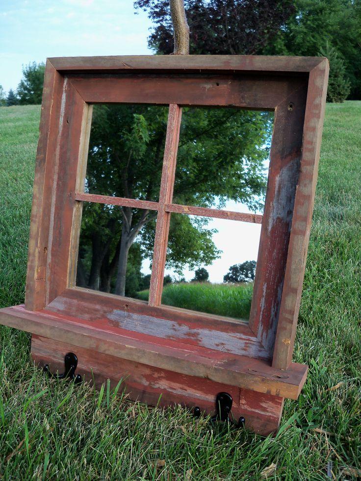 Red Barnwood Framed Mirror with shelf