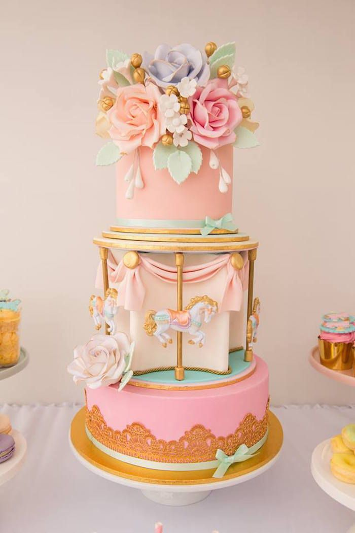 Pastel Carousel Birthday Party - For all your cake decorating supplies, please visit craftcompany.co.uk