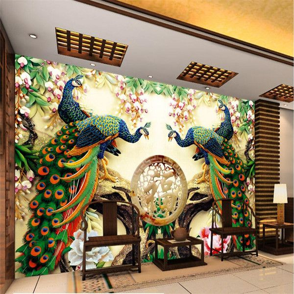 Wholesale Large Painting Home Decor Peacock Green Branches Murales De Pared 3d Wallpaper Hotel Background Modern Mural For Living Room Free Widescreen Wallpaper Free Widescreen Wallpaper Downloads From Brendin, $23.53| DHgate.Com