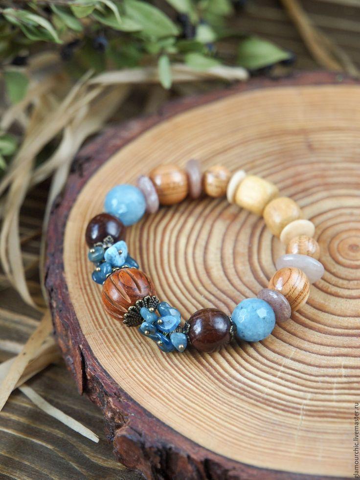 """Купить БРАСЛЕТ """" АКВАМАРИН"""" - голубой, браслет из камней, Браслет ручной работы, браслет из бусин"""