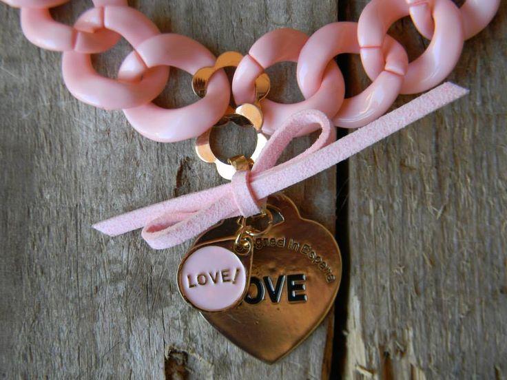 Gargantilla y pulsera eslabones rosa con gran corazón