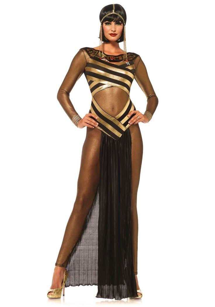 Disfraz diosa egipcia: Este disfraz de diosa egipcia para mujer incluye traje, vestido y diadema (zapatos no incluidos).El traje es de rejilla fina y elástica de color negro y dorado.El vestido es muy sexy y tiene...