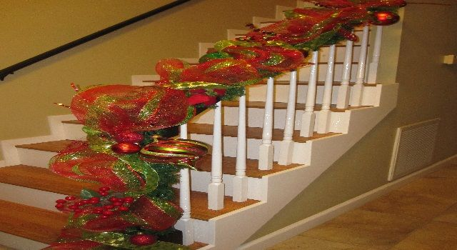 Decorating Stairs with Mesh Ribbon