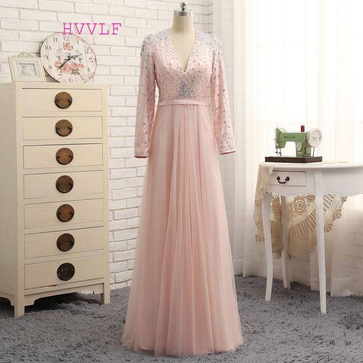 2017 Muslim Evening Dresses A-line Long Sleeves Tulle Crystals Hijab Islamic Dubai Abaya Kaftan Long Evening Gown Prom Dress #Hijab dress