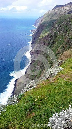 Cabo site west of Madeira Island in the Atlantic Ocean in Portugal. Volcanic Cliffs.