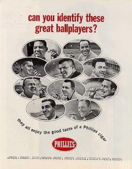 Phillies Cigars Ad Famous Baseball Players (1964)