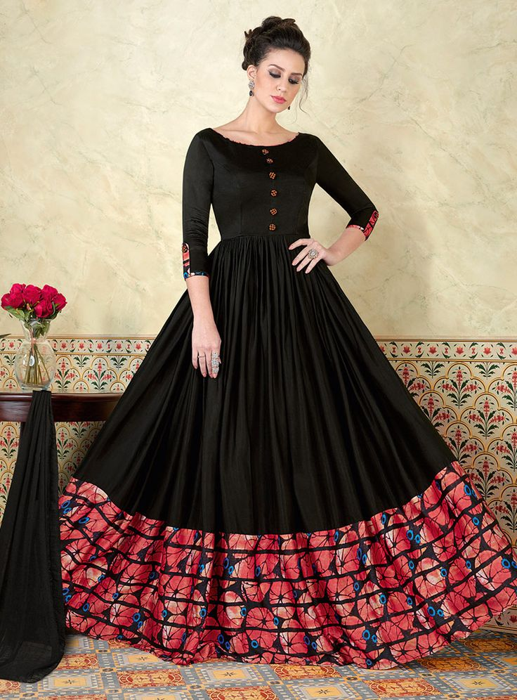 Black Satin Floor Length Anarkali Suit 107756